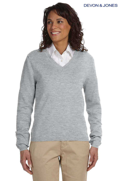 Devon & Jones D475W Heather Grey Cotton Long Sleeve V-Neck Sweater Front