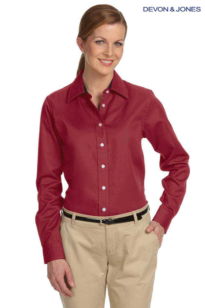 Devon & Jones D610W Burgundy Pima Cotton Advantage Twill Long Sleeve Button Down Shirt Front