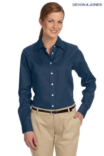 Devon & Jones D610W Navy Blue Pima Cotton Advantage Twill Long Sleeve Button Down Shirt Front