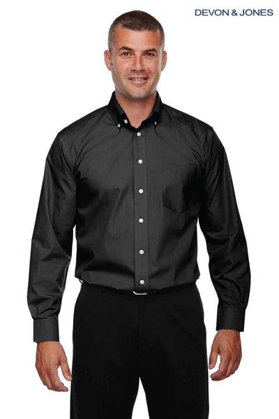 Devon & Jones D620 Black Crown Collection Solid Broadcloth Blend Long Sleeve Button Down Shirt Front
