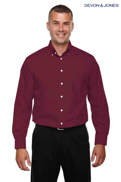 Devon & Jones D620 Burgundy Crown Collection Solid Broadcloth Blend Long Sleeve Button Down Shirt Front