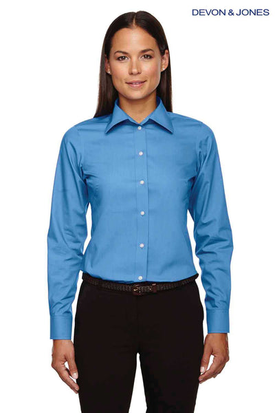 Devon & Jones D620W French Blue Crown Collection Solid Broadcloth Blend Long Sleeve Button Down Shirt Front