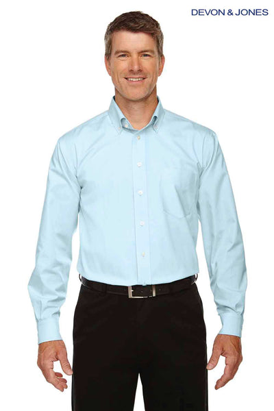 Devon & Jones D630 Crystal Blue Crown Collection Solid Oxford Blend Long Sleeve Button Down Shirt Front