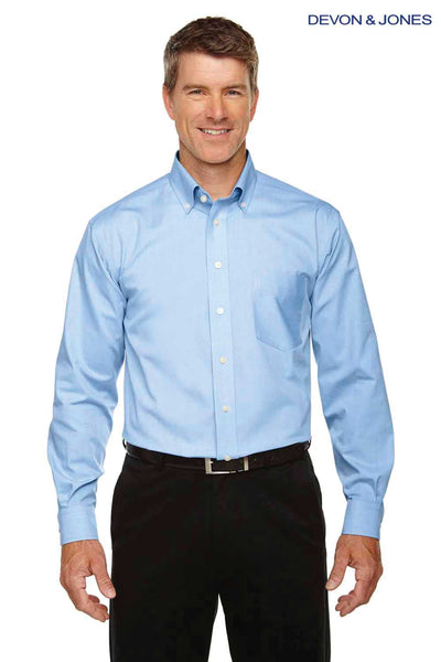 Devon & Jones D630 French Blue Crown Collection Solid Oxford Blend Long Sleeve Button Down Shirt Front