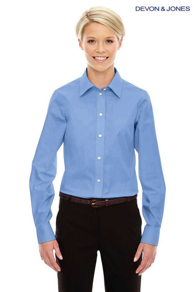 Devon & Jones D630W Light Blue Crown Collection Solid Oxford Blend Long Sleeve Button Down Shirt Front