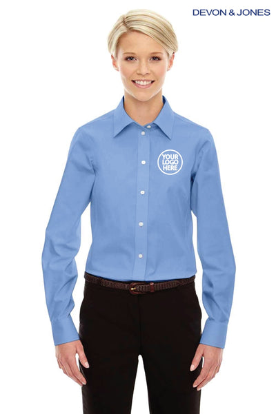 Devon & Jones D630W Light Blue Crown Collection Solid Oxford Blend Long Sleeve Button Down Shirt Logo