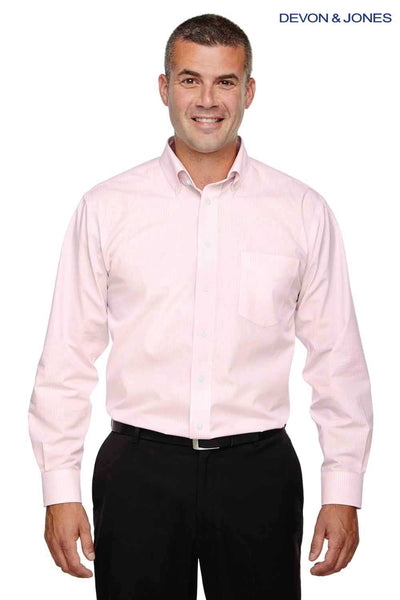 Devon & Jones D640 Pink Crown Collection Gingham Check Blend Long Sleeve Button Down Shirt Front