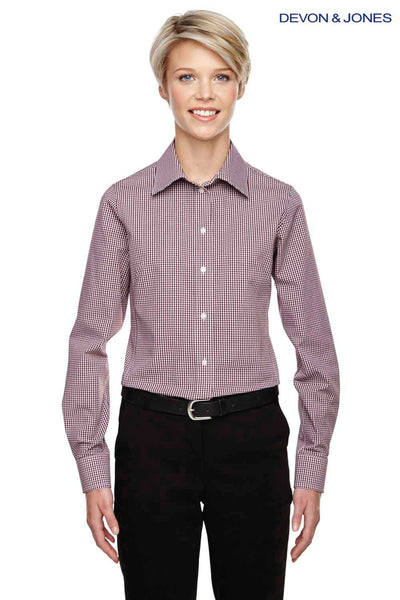 Devon & Jones D640W Burgundy Crown Collection Gingham Check Blend Long Sleeve Button Down Shirt Front