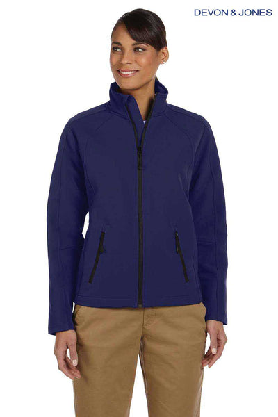 Devon & Jones D945W Navy Blue Doubleweave Tech Shell Duplex Blend Jacket Front