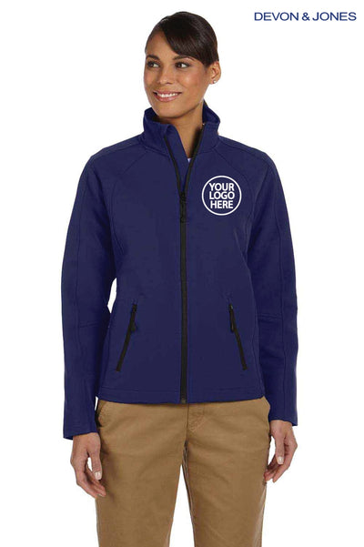 Devon & Jones D945W Navy Blue Doubleweave Tech Shell Duplex Blend Jacket Logo