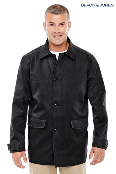 Devon & Jones D982 Black Sullivan Harbor Polyester Blend Trench Coat Front