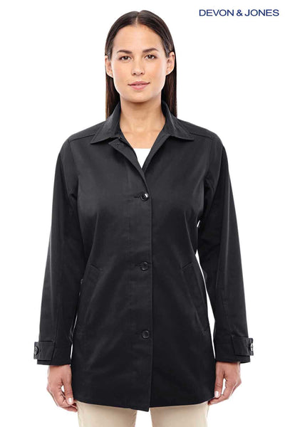 Devon & Jones D982W Black Sullivan Harbor Polyester Blend Trench Coat Front