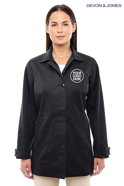 Devon & Jones D982W Black Sullivan Harbor Polyester Blend Trench Coat Logo