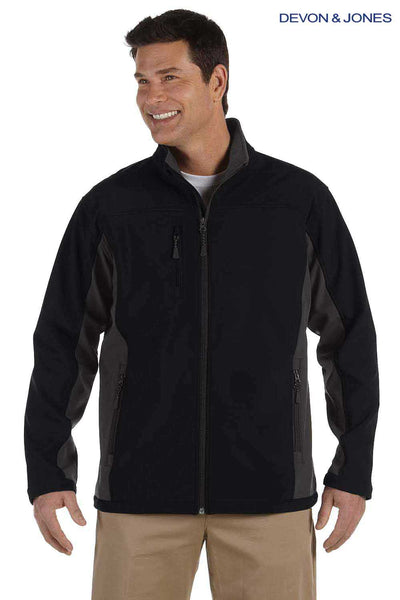 Devon & Jones D997 Black/Dark Grey Polyester Colorblock Soft Shell Jacket Front