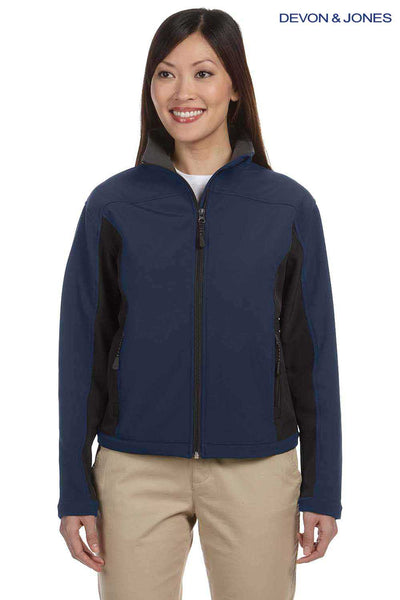 Devon & Jones D997W Navy Blue/Dark Grey Polyester Colorblock Soft Shell Jacket Front