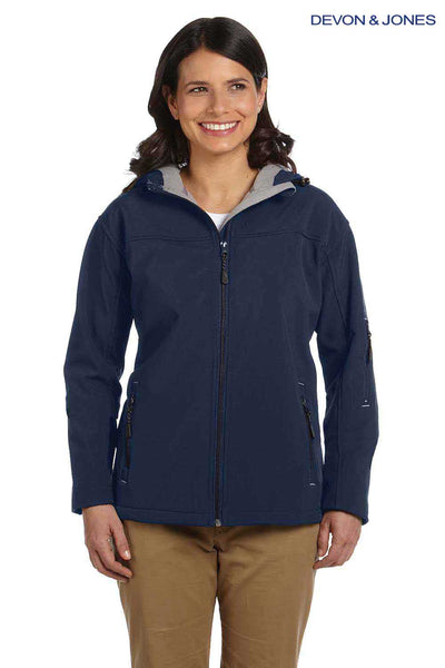 Devon & Jones D998W Navy Blue Polyester Soft Shell Hooded Jacket Front
