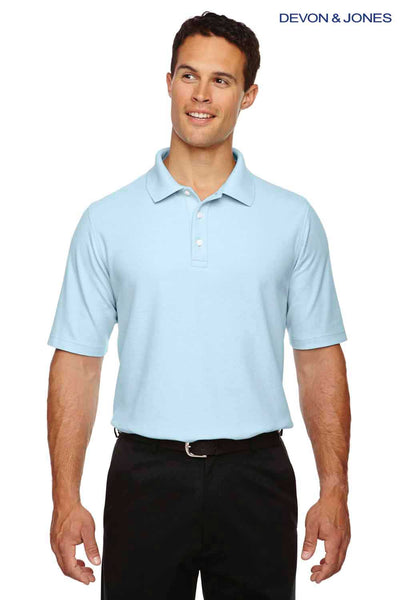Devon & Jones DG150 Crystal Blue DryTec20 Performance Cotton Short Sleeve Polo Shirt Front