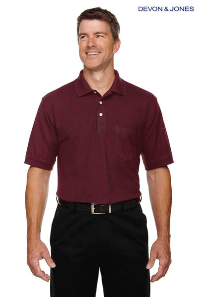 Devon & Jones DG150P Burgundy DryTec20 Performance Cotton Short Sleeve Pocket Polo Shirt Front