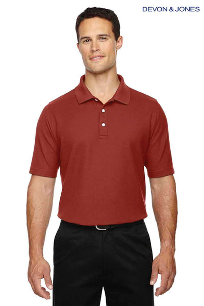 Devon & Jones DG150 Rust Red DryTec20 Performance Cotton Short Sleeve Polo Shirt Front