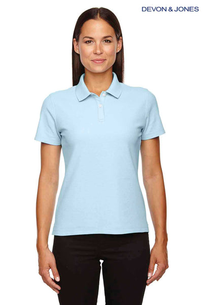 Devon & Jones DG150W Crystal Blue DryTec20 Performance Cotton Short Sleeve Polo Shirt Front