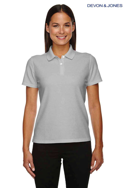 Devon & Jones DG150W Silver Grey DryTec20 Performance Cotton Short Sleeve Polo Shirt Front