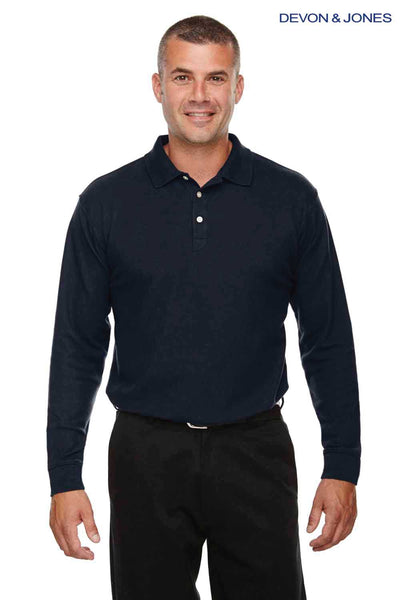 Devon & Jones DG170 Navy Blue DryTec20 Performance Cotton Long Sleeve Polo Shirt Front