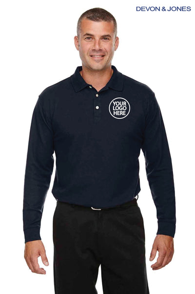 Devon & Jones DG170 Navy Blue DryTec20 Performance Cotton Long Sleeve Polo Shirt Logo