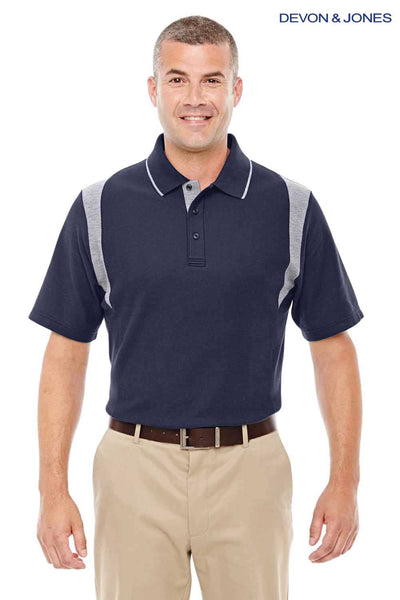 Devon & Jones DG180 Navy Blue/Grey DryTec20 Performance Cotton Colorblock Short Sleeve Polo Shirt Front
