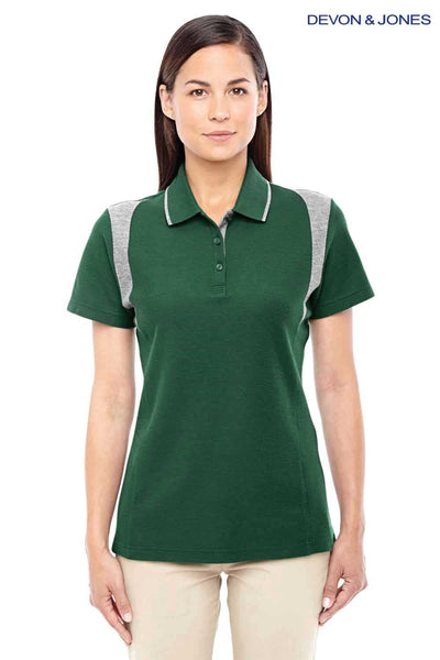 Devon & Jones DG180W Forest Green/Grey DryTec20 Performance Cotton Colorblock Short Sleeve Polo Shirt Front