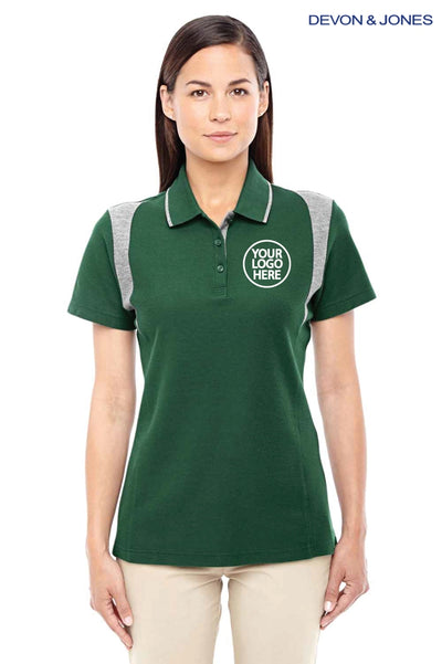 Devon & Jones DG180W Forest Green/Grey DryTec20 Performance Cotton Colorblock Short Sleeve Polo Shirt Logo