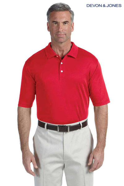 Devon & Jones DG200 Red Pima Tech Jet Pique Blend Short Sleeve Polo Shirt Front