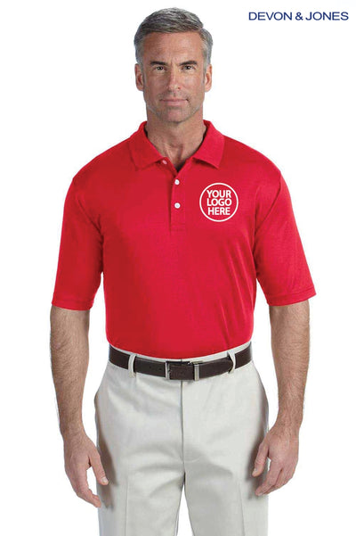 Devon & Jones DG200 Red Pima Tech Jet Pique Blend Short Sleeve Polo Shirt Logo