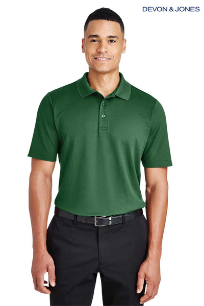 Devon & Jones DG20 Forest Green CrownLux Performance Blend Plaited Short Sleeve Polo Shirt Front