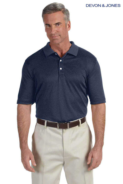 Devon & Jones DG210 Heather Navy Blue Pima Tech Jet Pique Blend Short Sleeve Polo Shirt Front