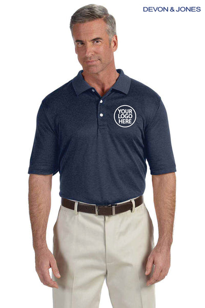 Devon & Jones DG210 Heather Navy Blue Pima Tech Jet Pique Blend Short Sleeve Polo Shirt Logo