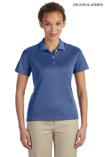 Devon & Jones DG210W Heather French Blue Pima Tech Jet Pique Blend Short Sleeve Polo Shirt Front