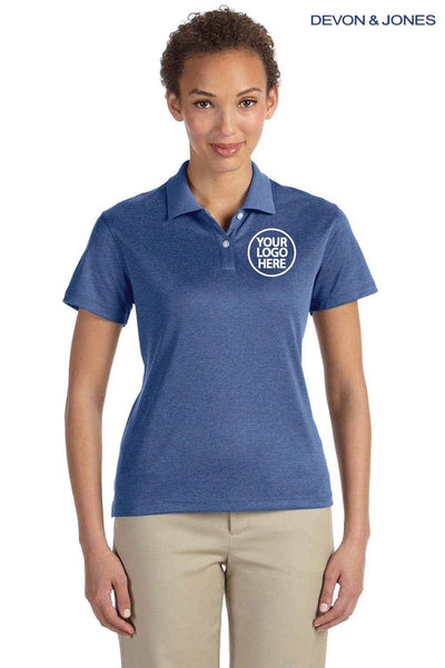 Devon & Jones DG210W Heather French Blue Pima Tech Jet Pique Blend Short Sleeve Polo Shirt Logo