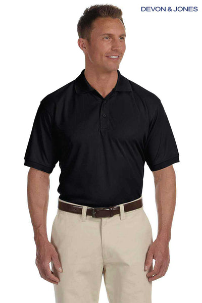 Devon & Jones DG385 Black Dri Fast Advantage Polyester Mesh Short Sleeve Polo Shirt Front