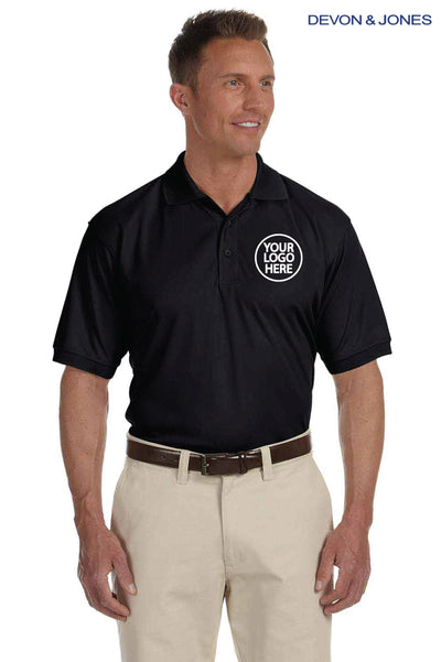 Devon & Jones DG385 Black Dri Fast Advantage Polyester Mesh Short Sleeve Polo Shirt Logo