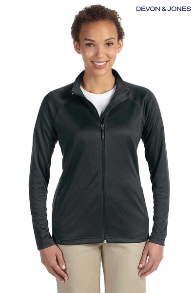 Devon & Jones DG420W Black Compass Stretch Tech Polyester Sweatshirt Front