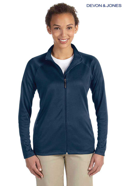 Devon & Jones DG420W Navy Blue Compass Stretch Tech Polyester Sweatshirt Front