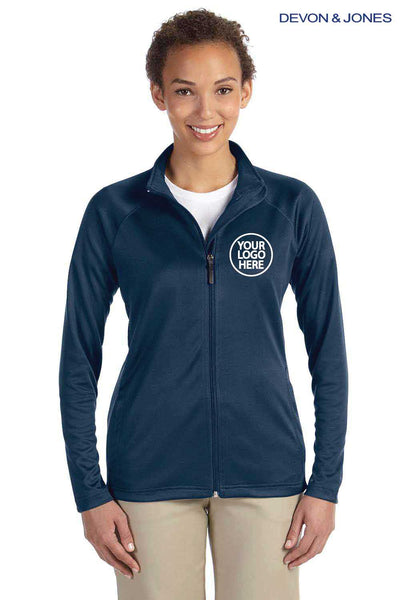Devon & Jones DG420W Navy Blue Compass Stretch Tech Polyester Sweatshirt Embroidery