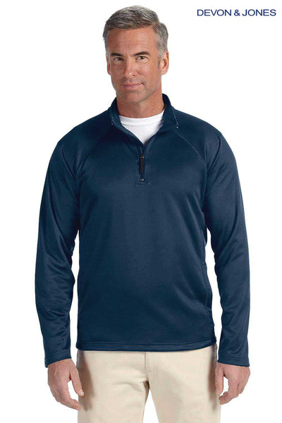Devon & Jones DG440 Navy Blue Compass Stretch Tech Polyester Sweatshirt Front