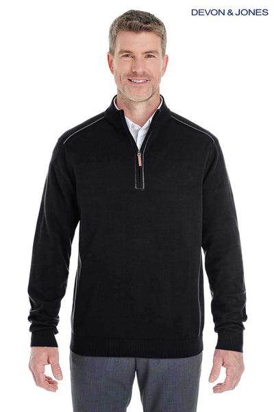 Devon & Jones DG478 Black Manchester Fully Fashioned Cotton Long Sleeve Sweater Front