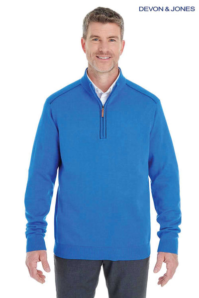 Devon & Jones DG478 French Blue Manchester Fully Fashioned Cotton Long Sleeve Sweater Front