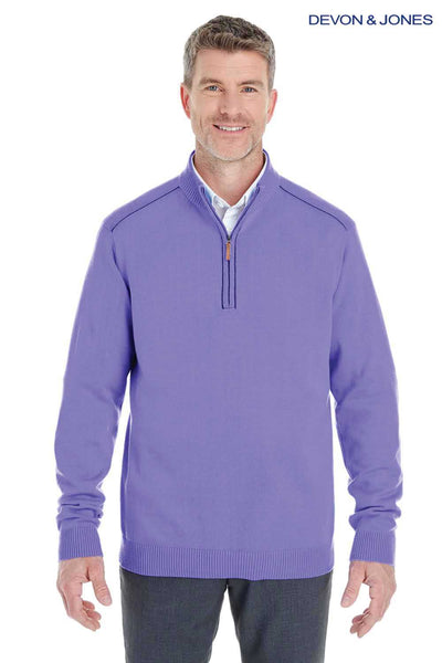 Devon & Jones DG478 Purple Manchester Fully Fashioned Cotton Long Sleeve Sweater Front
