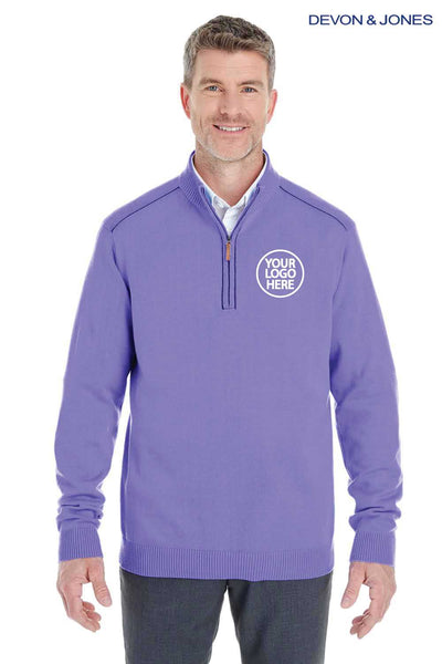 Devon & Jones DG478 Purple Manchester Fully Fashioned Cotton Long Sleeve Sweater Embroidery