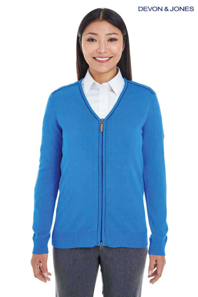 Devon & Jones DG478W French Blue Manchester Fully Fashioned Cotton Long Sleeve Sweater Front