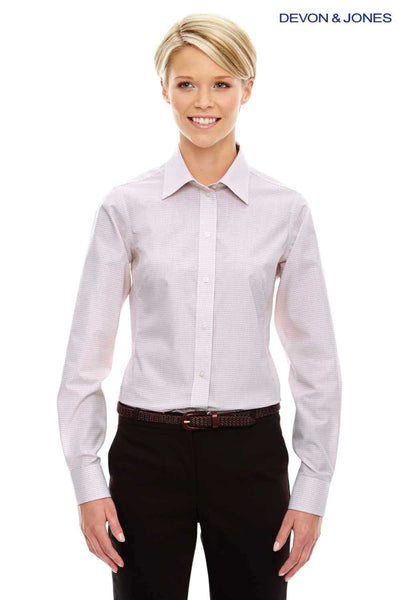 Devon & Jones DG510W White/Burgundy/Silver Crown Collection Micro Tattersall Blend Long Sleeve Button Down Shirt Front