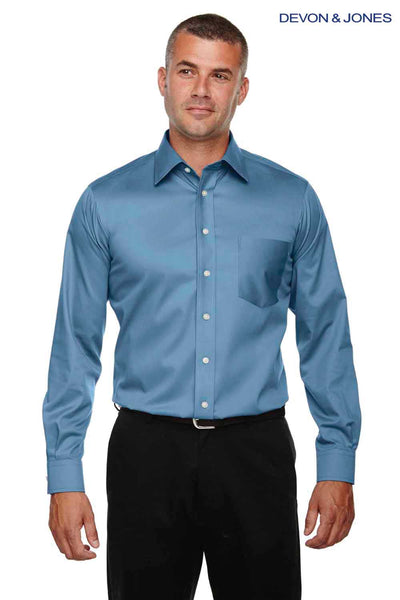 Devon & Jones DG530 Slate Blue Crown Collection Stretch Twill Blend Long Sleeve Button Down Shirt Front